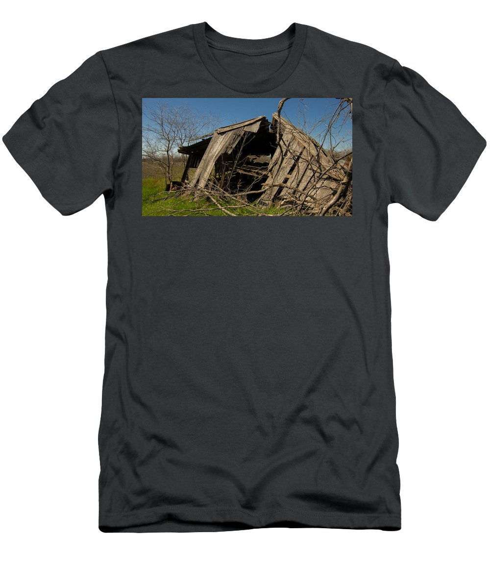 Vanishing Texas Men's T-Shirt (Athletic Fit) featuring the photograph Last Gasp Of An Old Barn Streetman Texas by Trace Ready