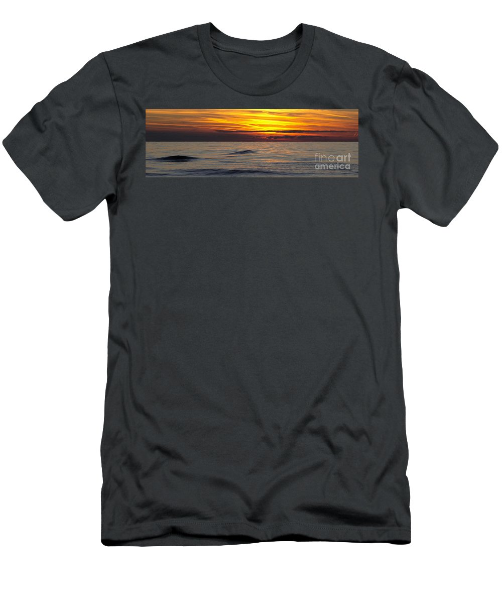 Sunset Men's T-Shirt (Athletic Fit) featuring the photograph Last Light Panorama by Ann Horn