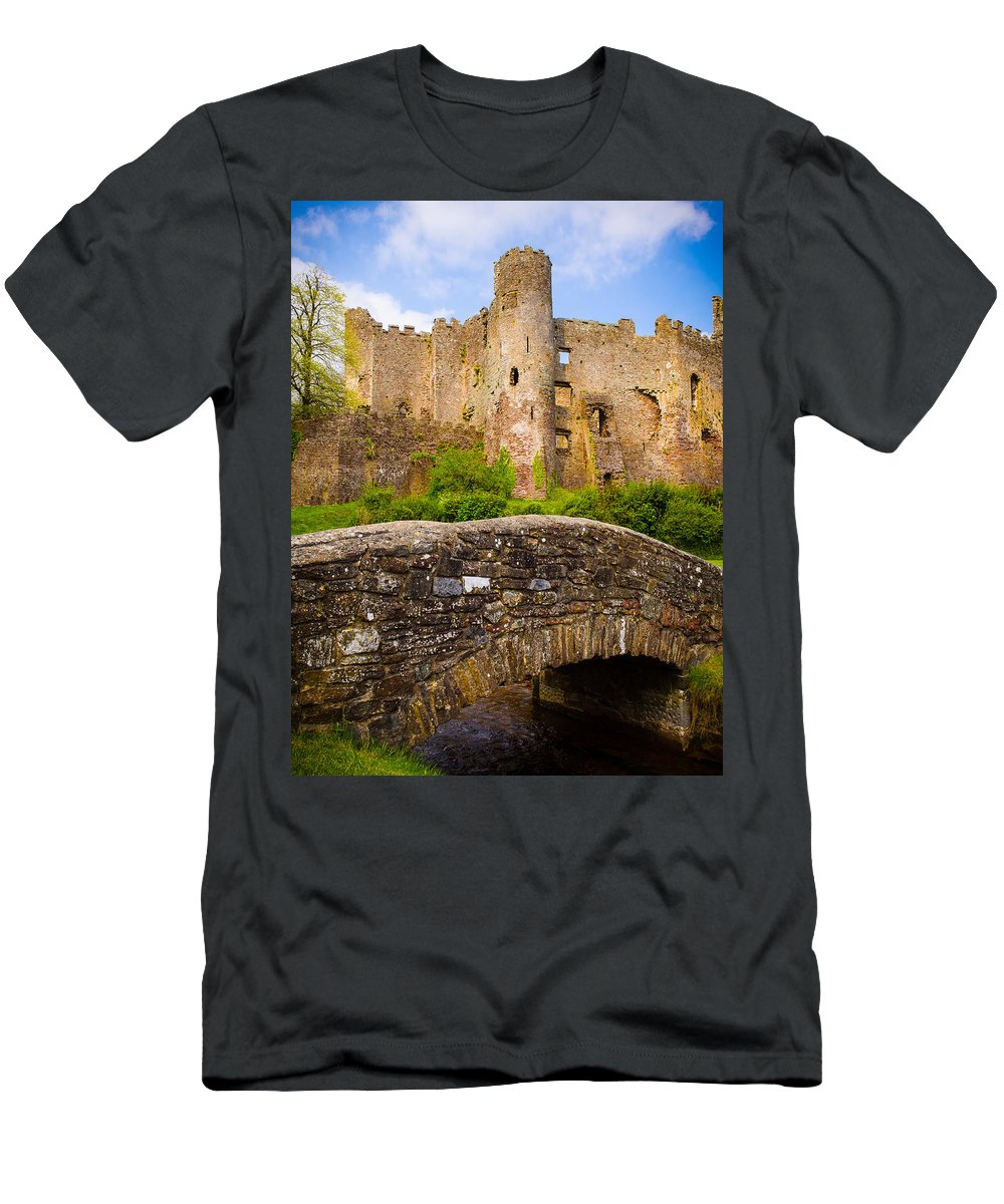 Blue Men's T-Shirt (Athletic Fit) featuring the photograph Laugharne Castle by Mark Llewellyn