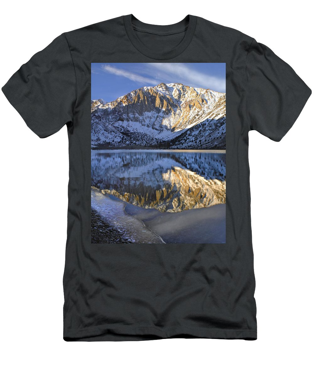 Feb0514 Men's T-Shirt (Athletic Fit) featuring the photograph Laurel Mt And Convict Lake Sierra by Tim Fitzharris