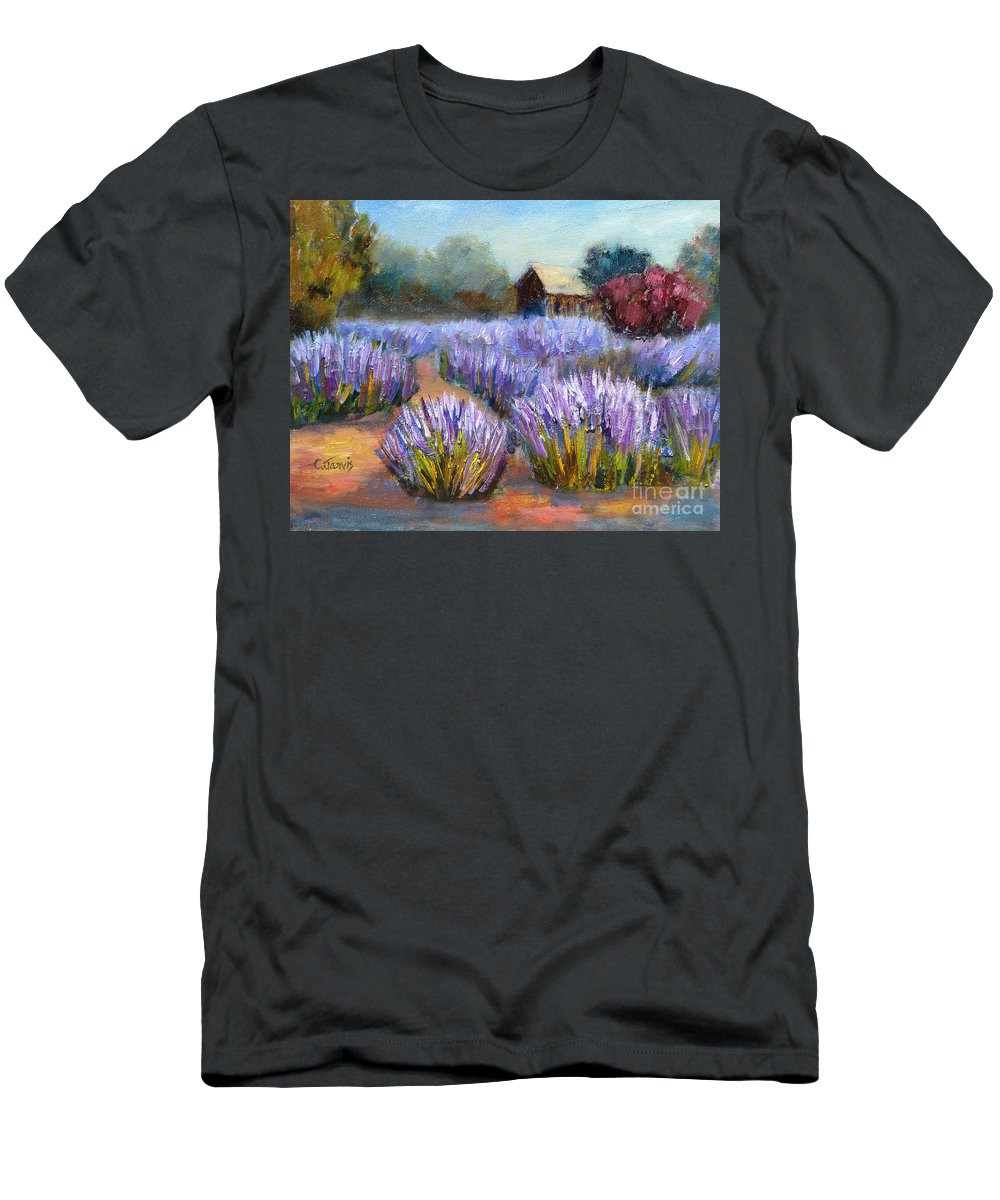 Lavender Men's T-Shirt (Athletic Fit) featuring the painting Lavender Blooms by Carolyn Jarvis