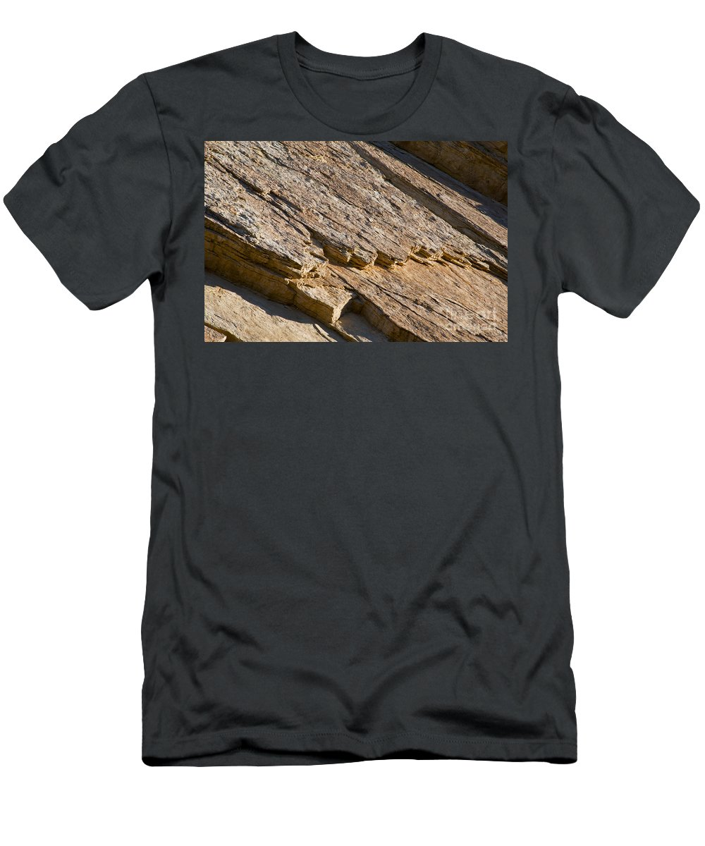 Golden Canyon Death Valley National Park California Rock Formation Rocks Formations Desert Deserts Landscape Landscapes Desertscape Desertscapes Men's T-Shirt (Athletic Fit) featuring the photograph Layered Rock by Bob Phillips