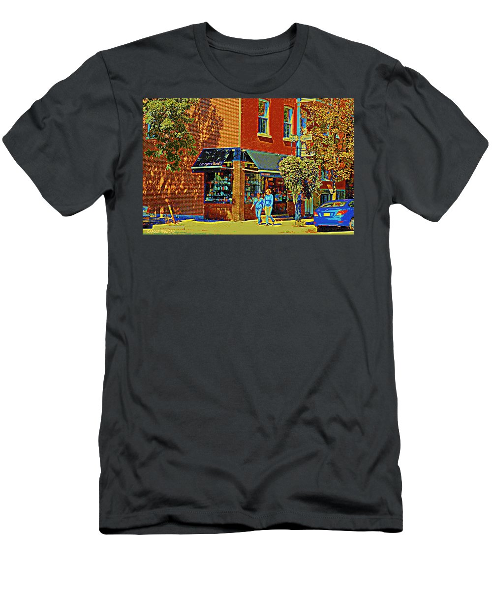 Men's T-Shirt (Athletic Fit) featuring the painting Le Fouvrac Foods Chocolates And Coffee Shop Corner Garnier And Laurier Montreal Street Scene by Carole Spandau