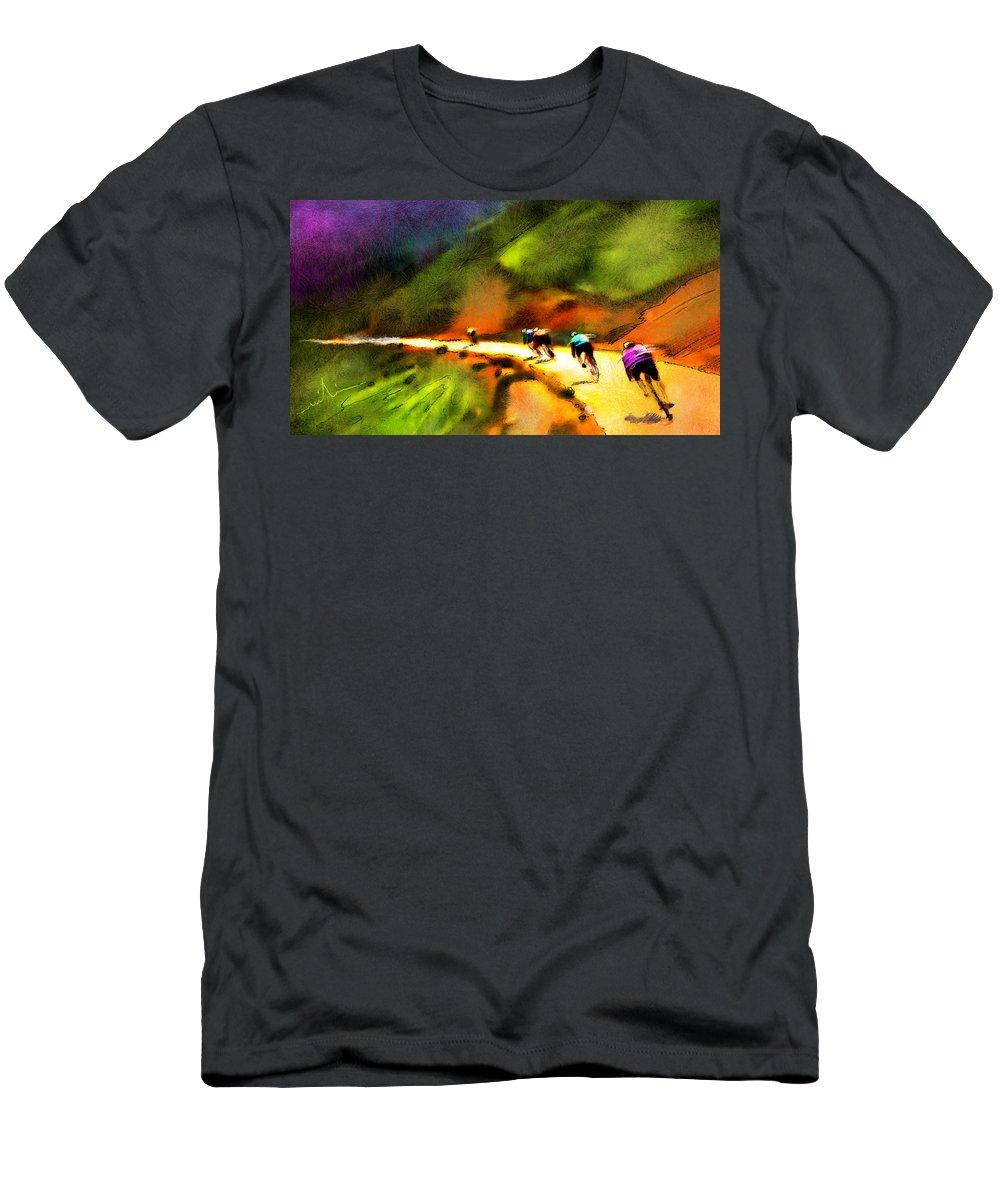 Sports Men's T-Shirt (Athletic Fit) featuring the painting Le Tour De France 02 by Miki De Goodaboom