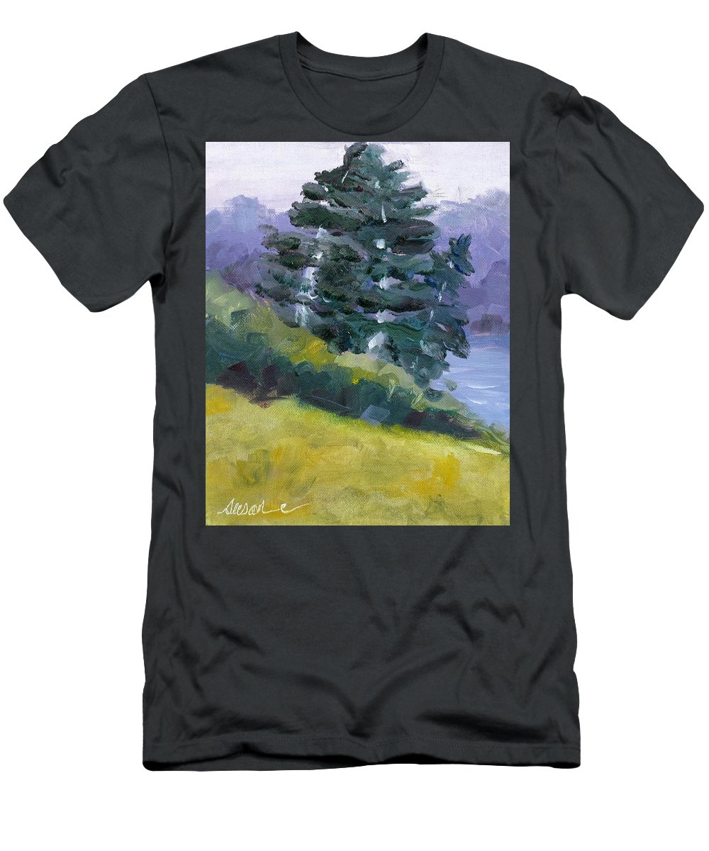 Nature Men's T-Shirt (Athletic Fit) featuring the painting Leaning Pines by Susan Elizabeth Jones