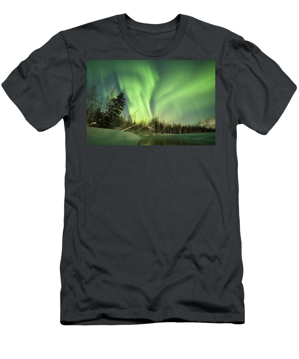 Aurora Men's T-Shirt (Athletic Fit) featuring the photograph Leaning Spruce by Ted Raynor