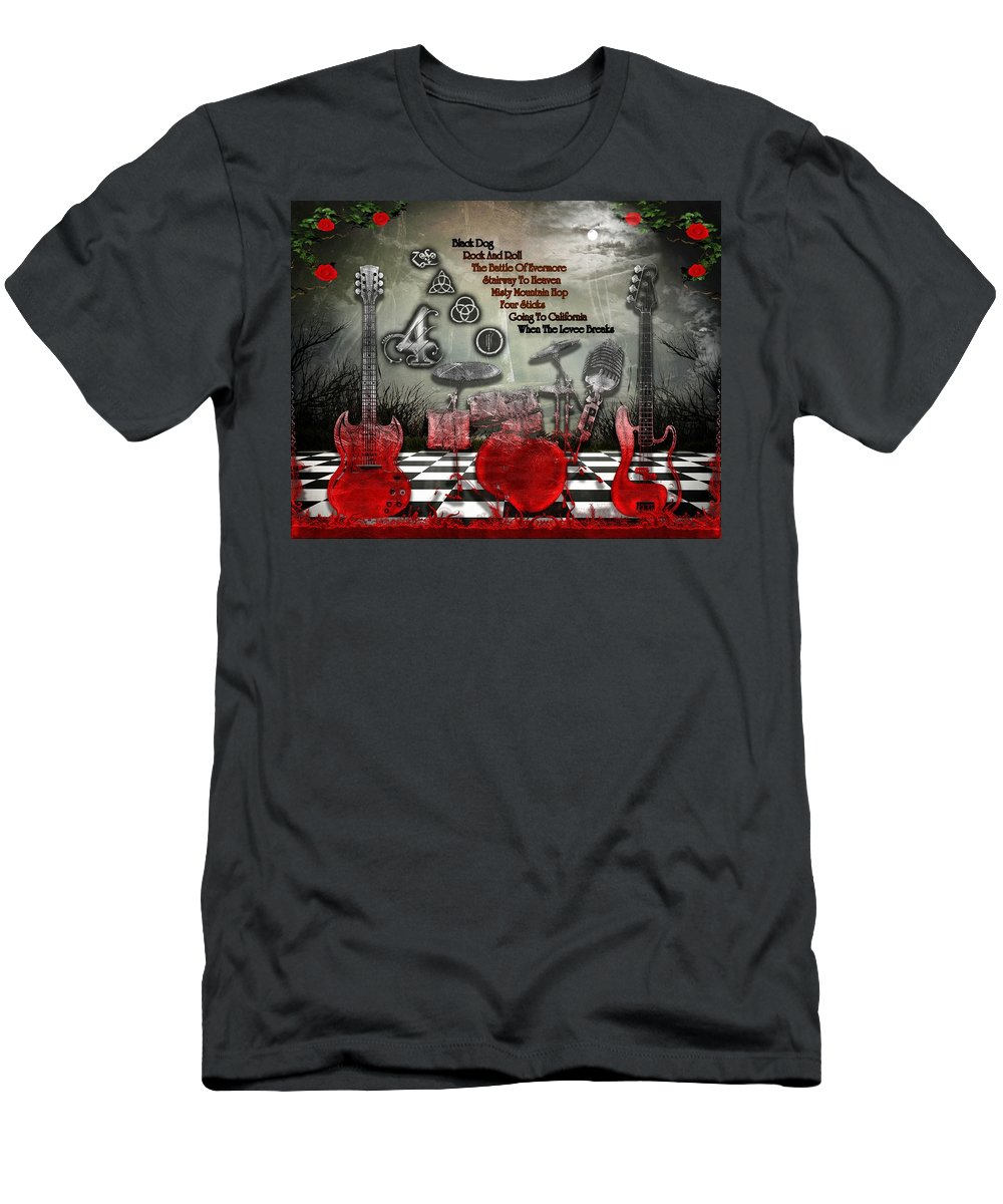 Led Zeppelin T-Shirt featuring the digital art Led Zeppelin IV by Michael Damiani