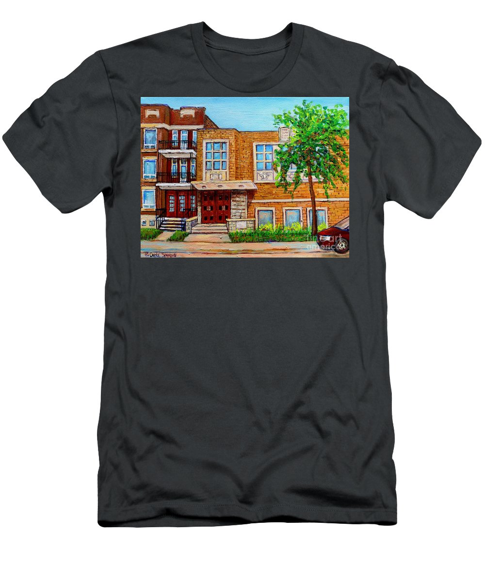 Montreal Men's T-Shirt (Athletic Fit) featuring the painting Legare And Hutchison Synagogue Montreal by Carole Spandau