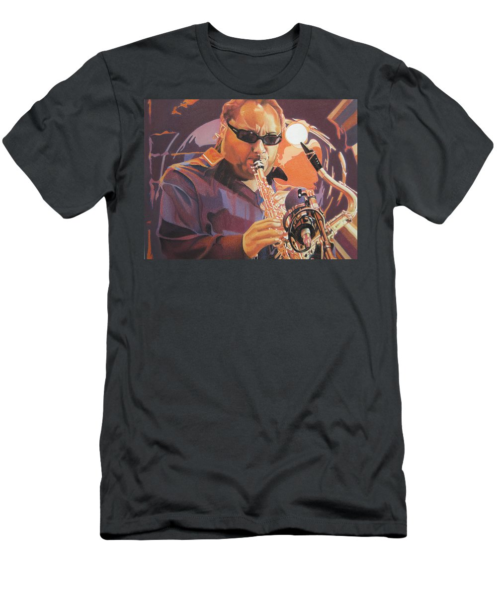 Leroi Moore Men's T-Shirt (Athletic Fit) featuring the drawing Leroi Moore Purple And Orange by Joshua Morton