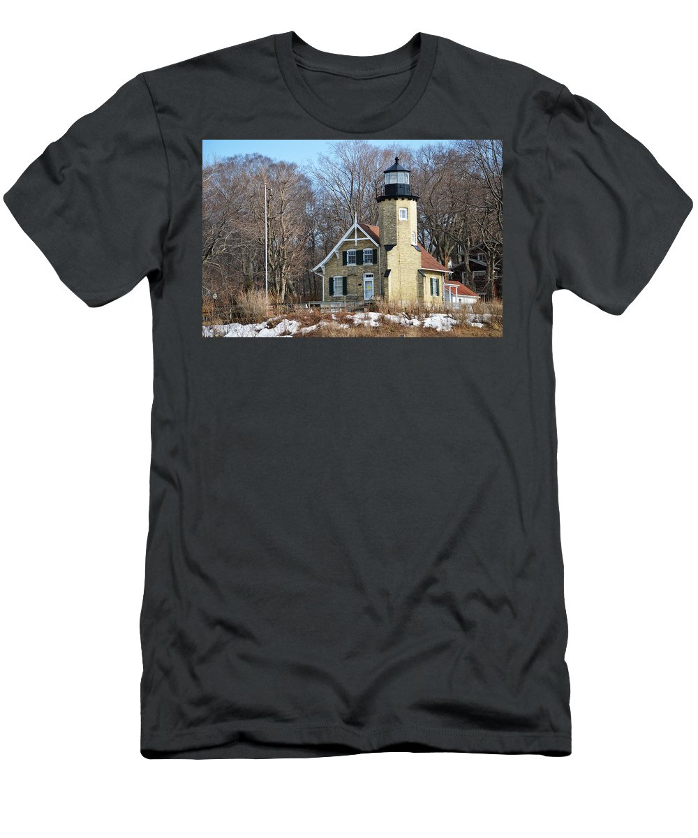 White River Lighthouse Men's T-Shirt (Athletic Fit) featuring the photograph Lighthouse At White River by Linda Kerkau