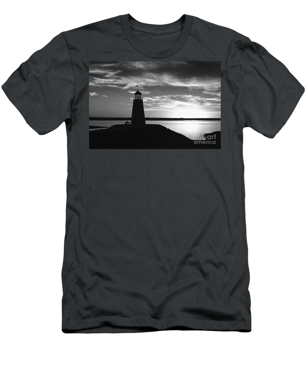 Lighthouse Men's T-Shirt (Athletic Fit) featuring the photograph Lighthouse In Black And White by Betty LaRue