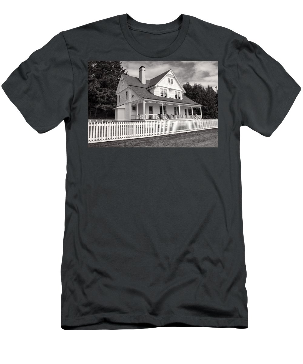 Men's T-Shirt (Athletic Fit) featuring the photograph Lighthouse Keepers House by Cathy Anderson