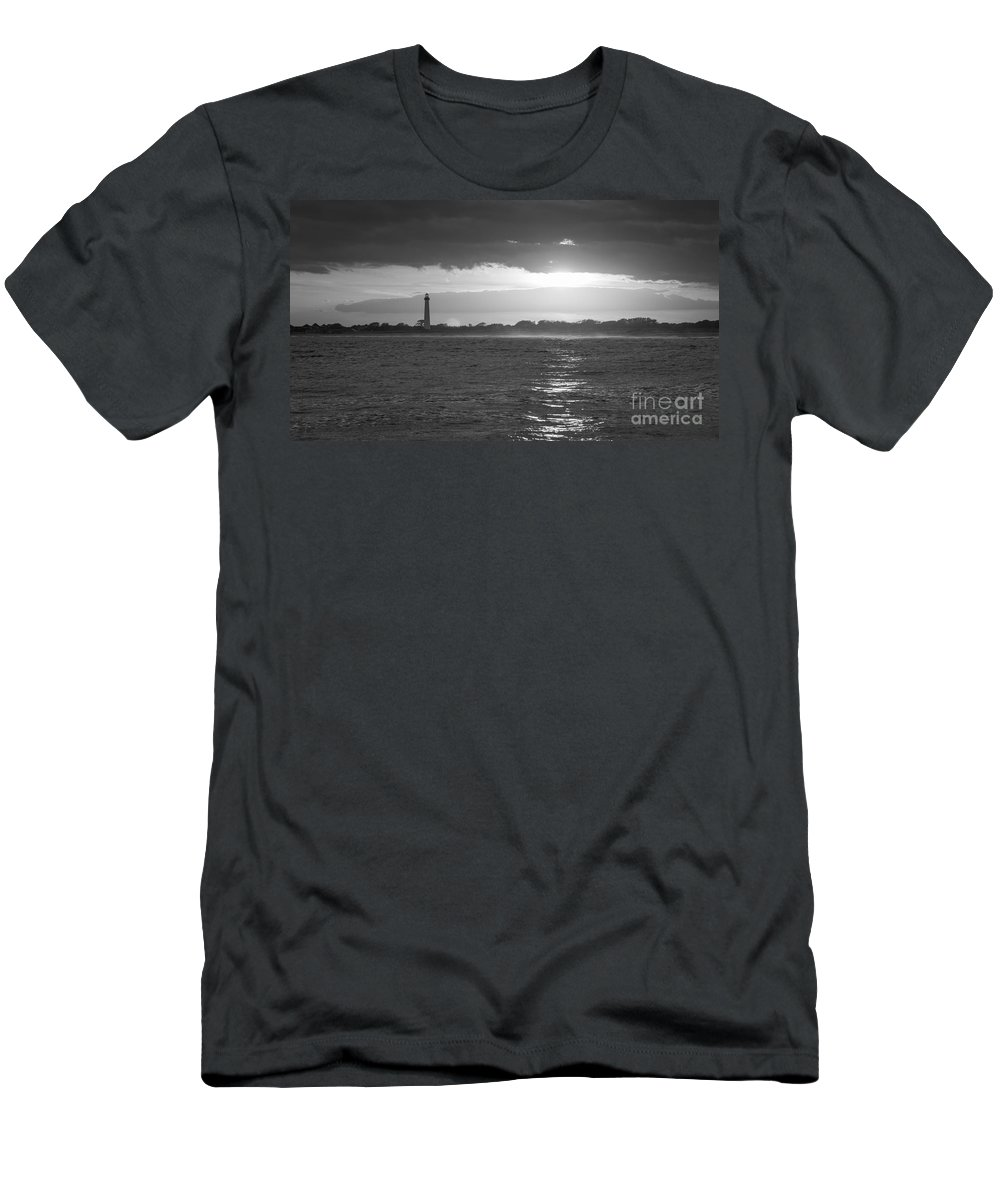 Cape May Men's T-Shirt (Athletic Fit) featuring the photograph Lighthouse Sun Reflections Bw by Michael Ver Sprill