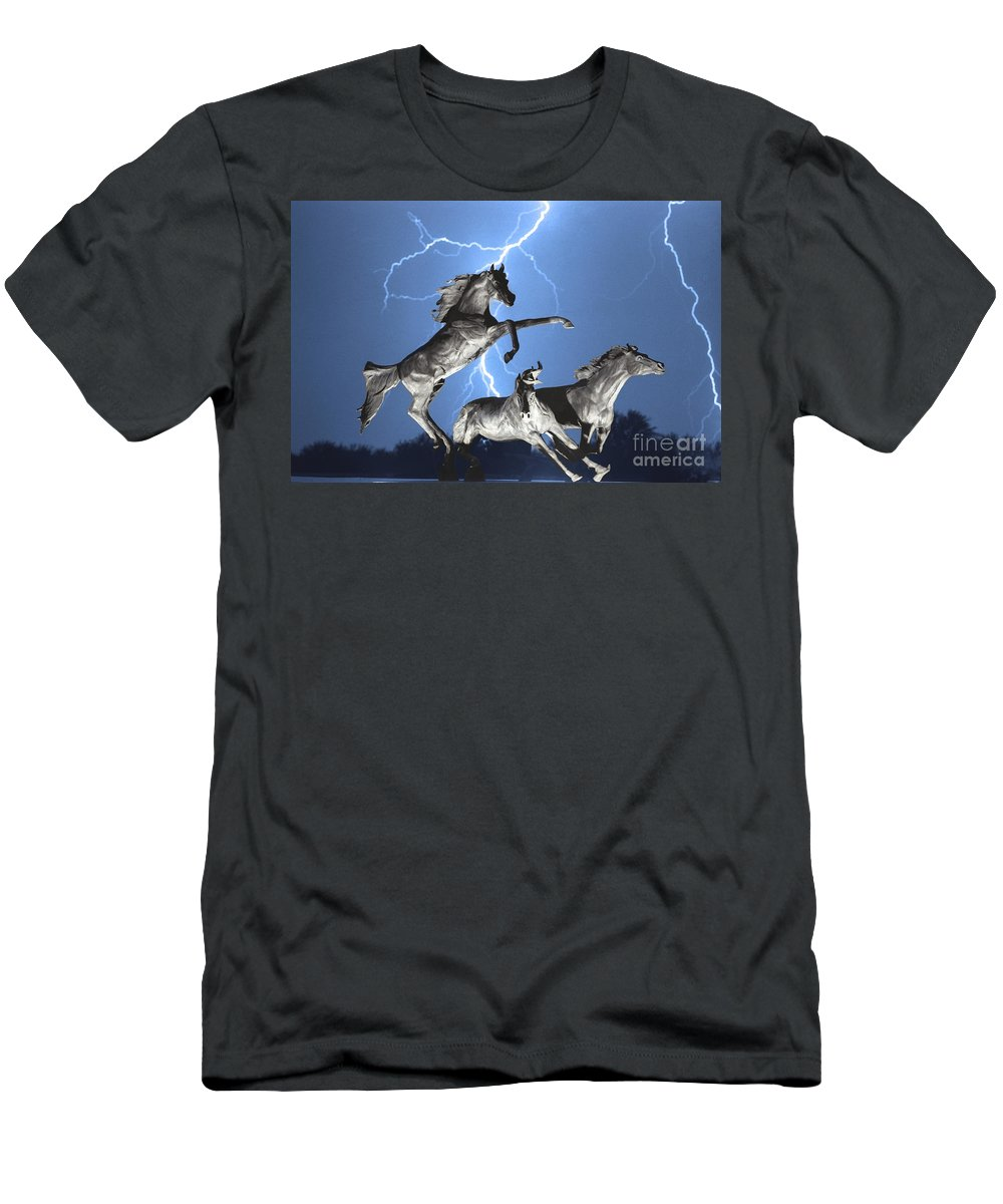 Men's T-Shirt (Athletic Fit) featuring the photograph Lightning At Horse World Bw Color Print by James BO Insogna