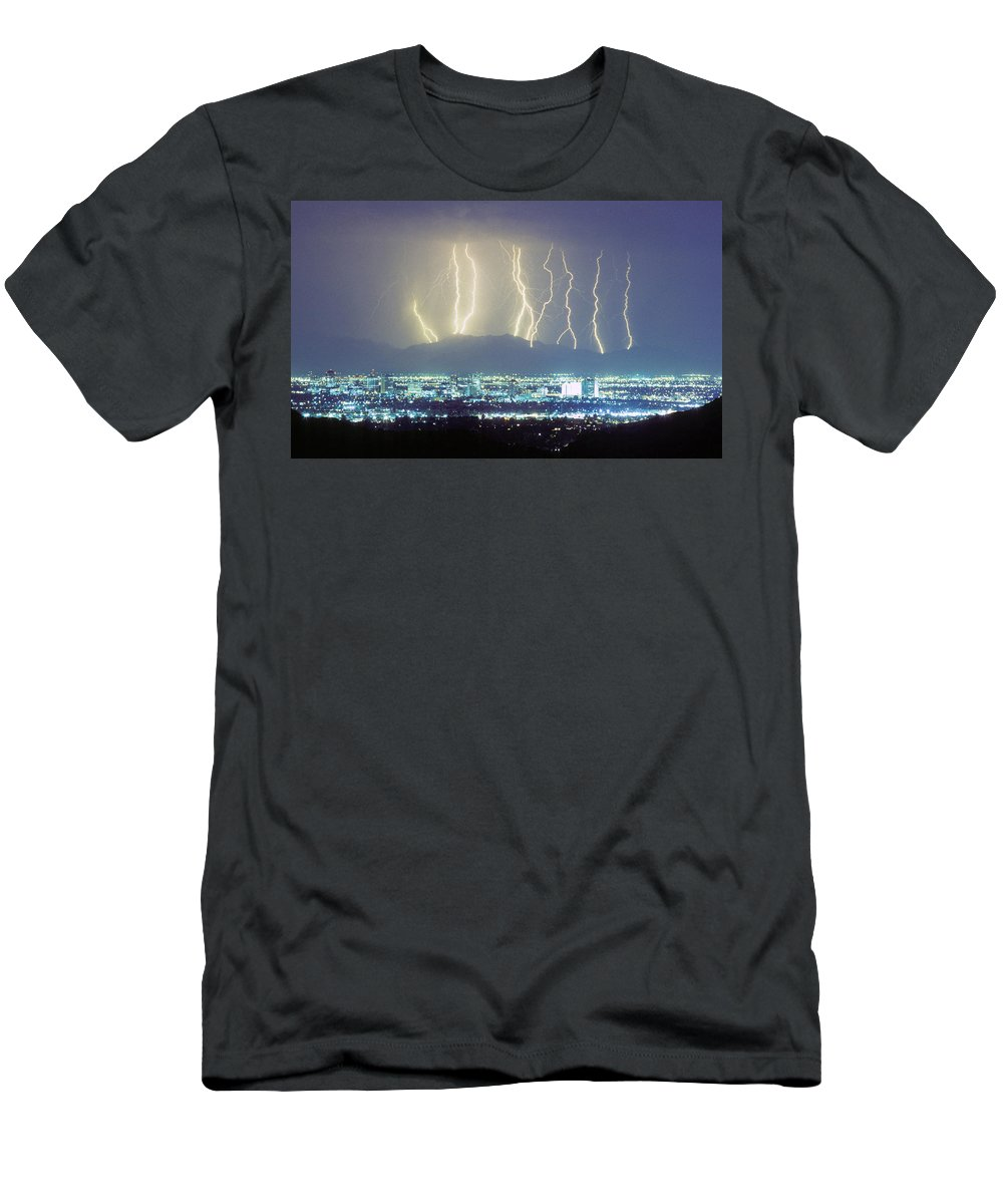 Lightning Men's T-Shirt (Athletic Fit) featuring the photograph Lightning Striking Over Phoenix Arizona by James BO Insogna