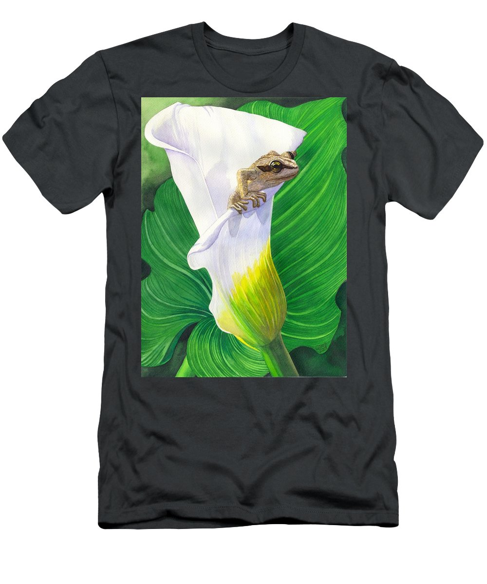 Frog Men's T-Shirt (Athletic Fit) featuring the painting Lily Dipping by Catherine G McElroy