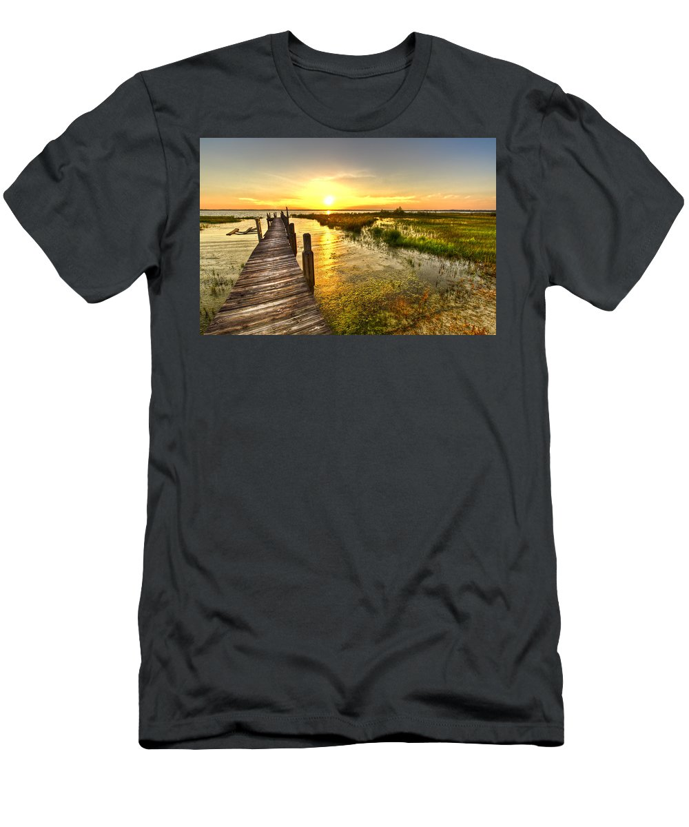 Clouds Men's T-Shirt (Athletic Fit) featuring the photograph Liquid Gold by Debra and Dave Vanderlaan