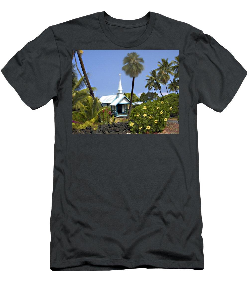 Hawaii Men's T-Shirt (Athletic Fit) featuring the photograph Little Blue Church Kona by Kurt Van Wagner