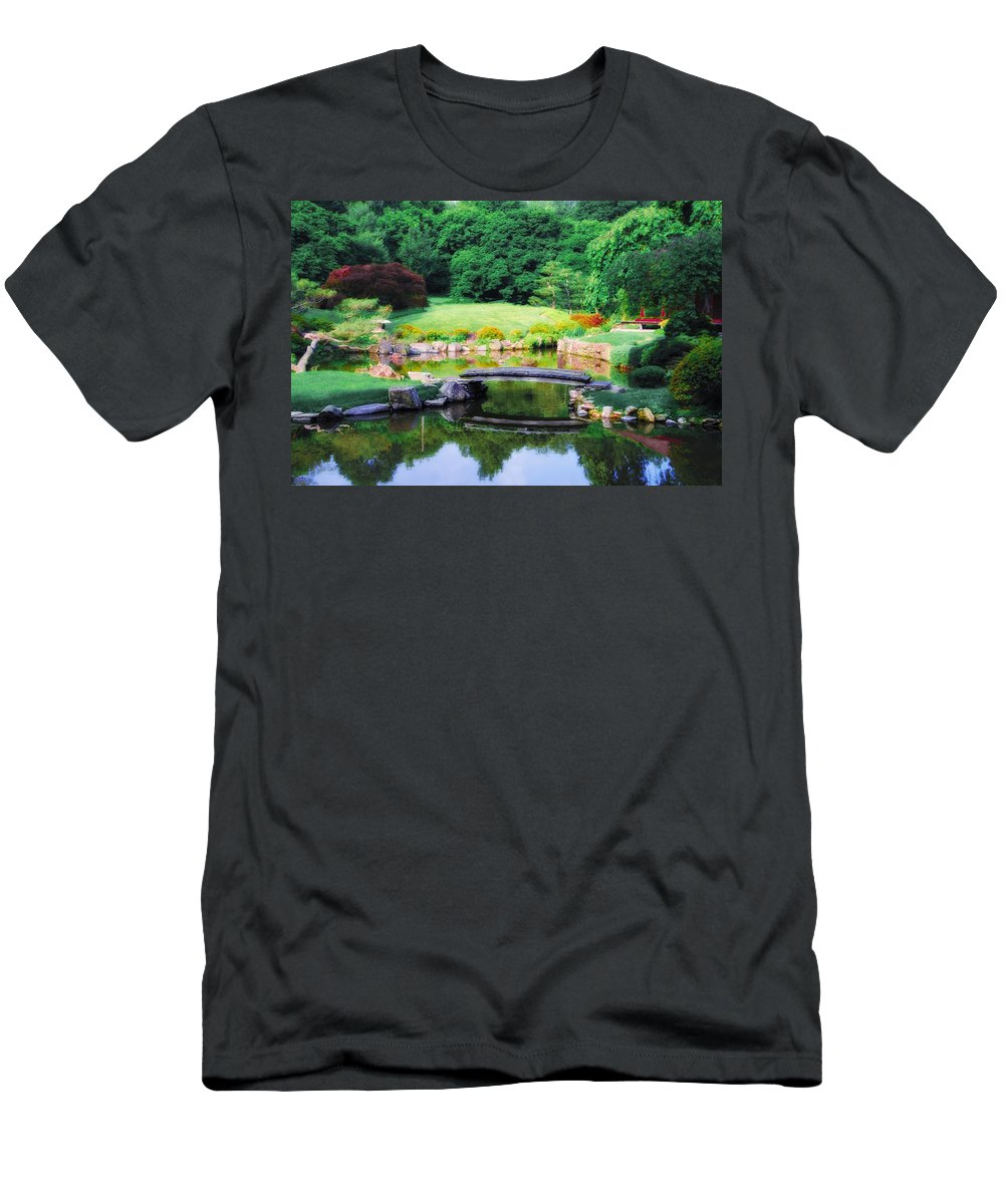 Little Men's T-Shirt (Athletic Fit) featuring the photograph Little Bridge In The Japanese Garden by Bill Cannon