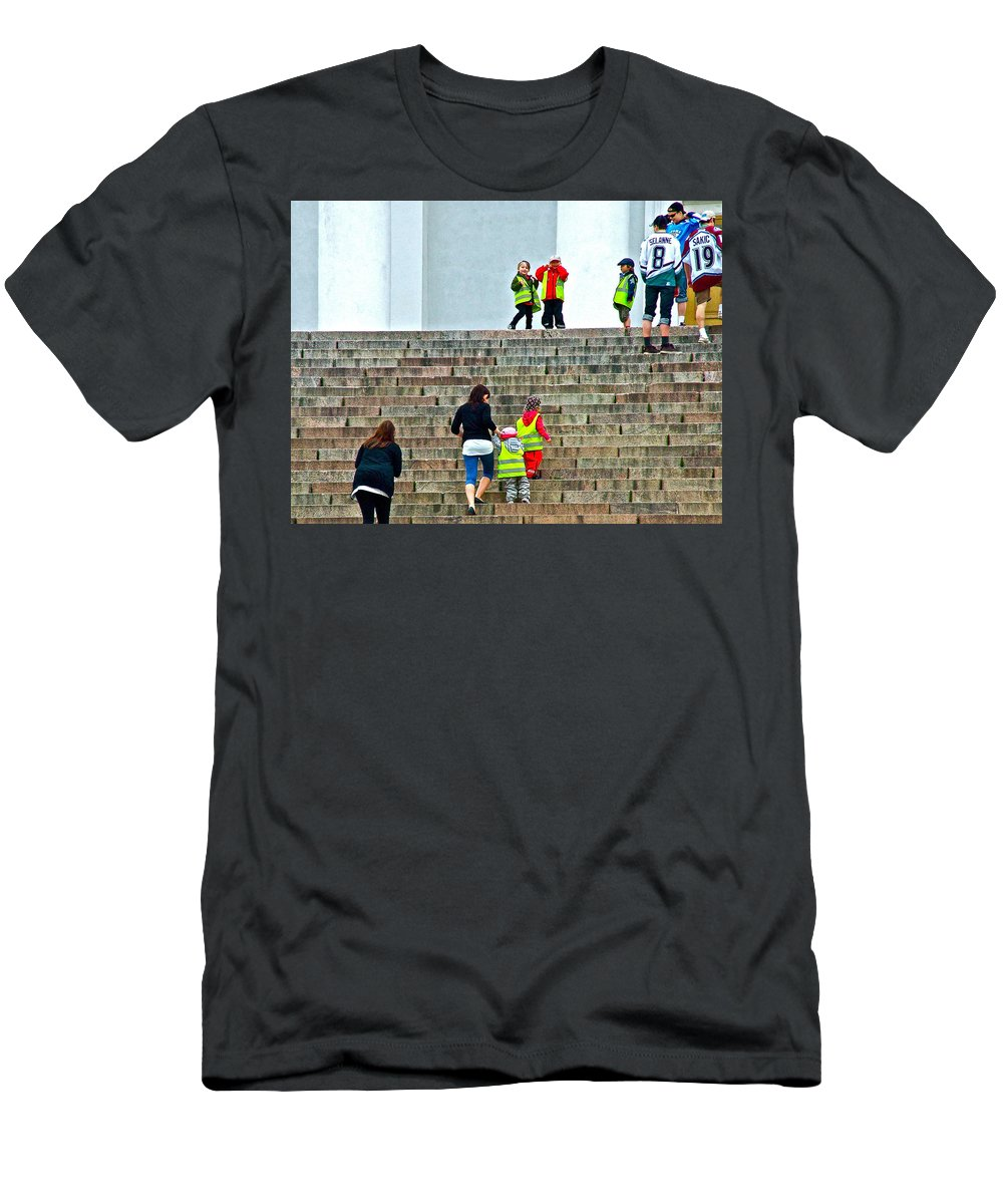 Little Children Climbing Steps Of Lutheran Cathedral Of Helsinki Men's T-Shirt (Athletic Fit) featuring the photograph Little Children Climbing Steps Of Lutheran Cathedral Of Helsinki-finland by Ruth Hager