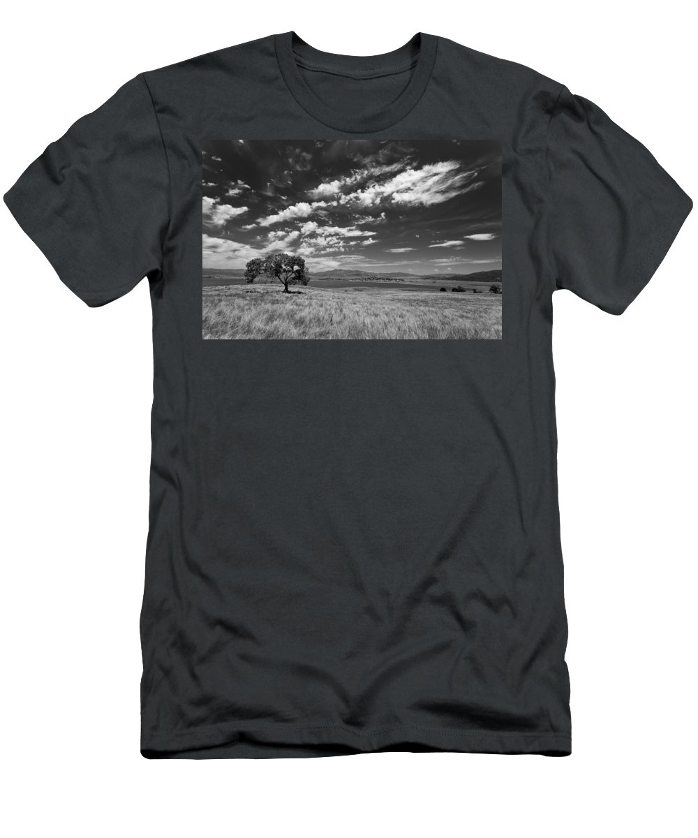 Big Sky Men's T-Shirt (Athletic Fit) featuring the photograph Little Prarie Big Sky - Black And White by Peter Tellone
