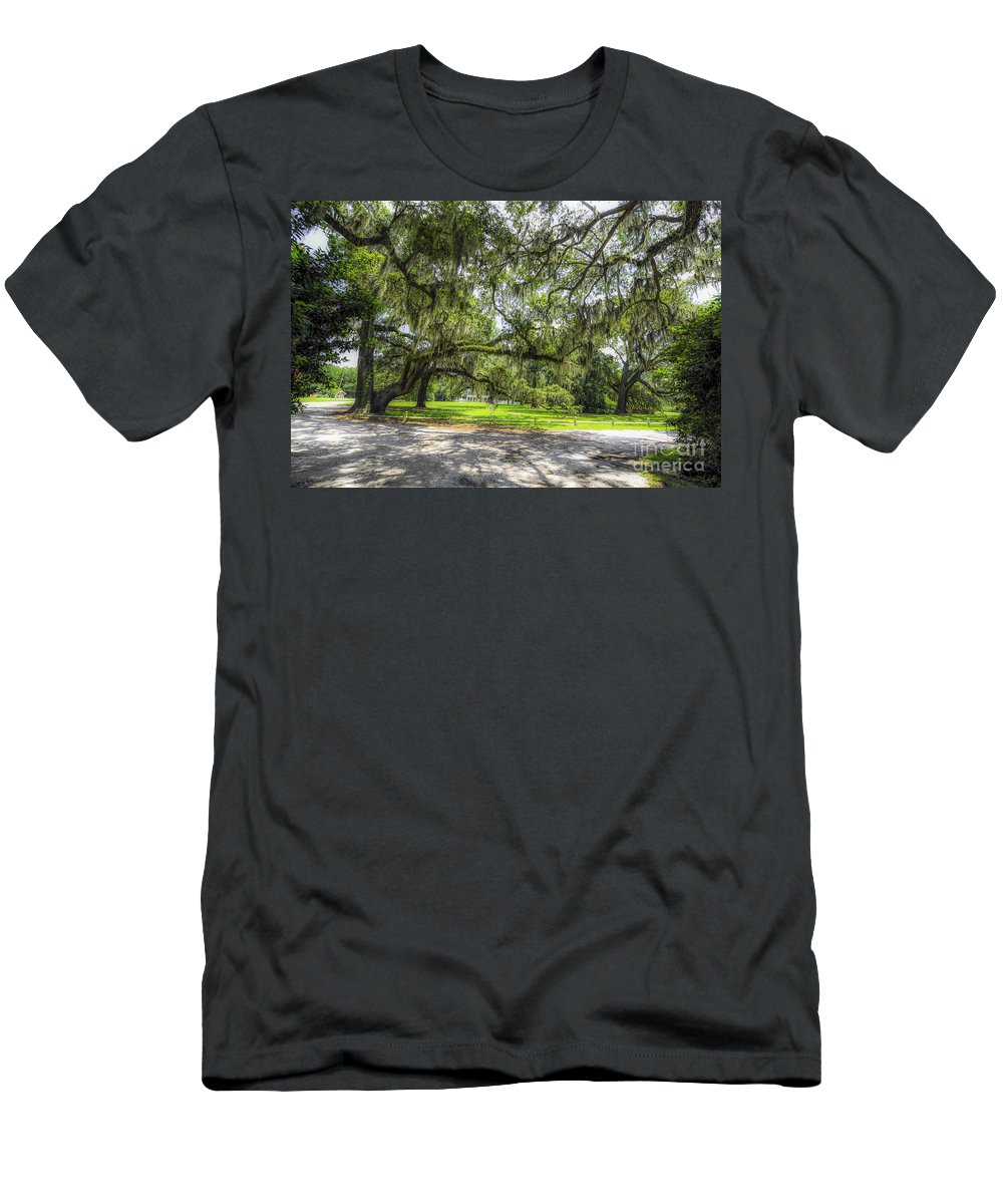 Live Oaks Men's T-Shirt (Athletic Fit) featuring the photograph Live Oaks Dripping With Spanish Moss by Dale Powell