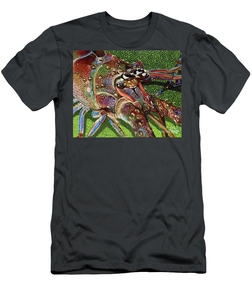 Lobster Men's T-Shirt (Athletic Fit) featuring the painting lobster season Re0027 by Carey Chen