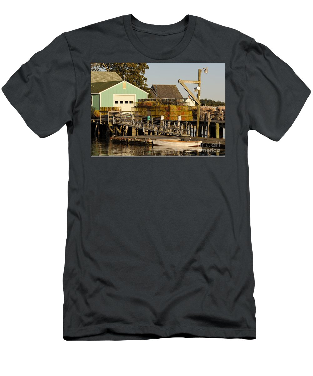 Boat Men's T-Shirt (Athletic Fit) featuring the photograph Lobster Traps On Dock by John Shaw
