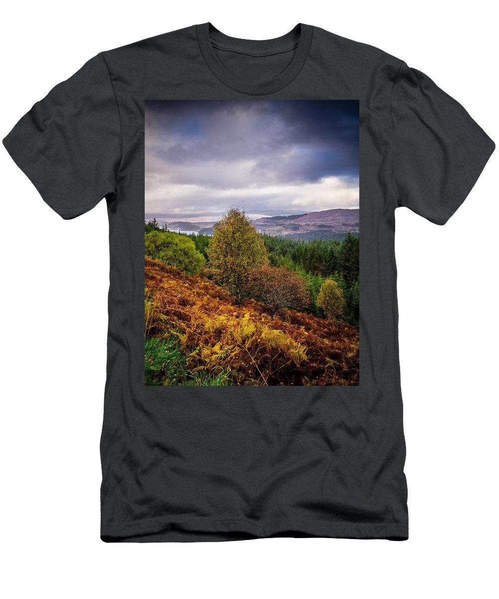 Bracken Men's T-Shirt (Athletic Fit) featuring the photograph Loch Loyne by Mark Llewellyn