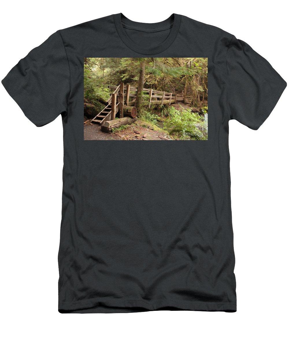 Log Bridge Men's T-Shirt (Athletic Fit) featuring the photograph Log Bridge In The Rainforest by Carol Groenen