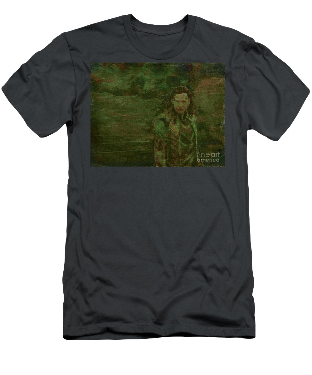Loki Men's T-Shirt (Athletic Fit) featuring the painting Loki by Alys Caviness-Gober