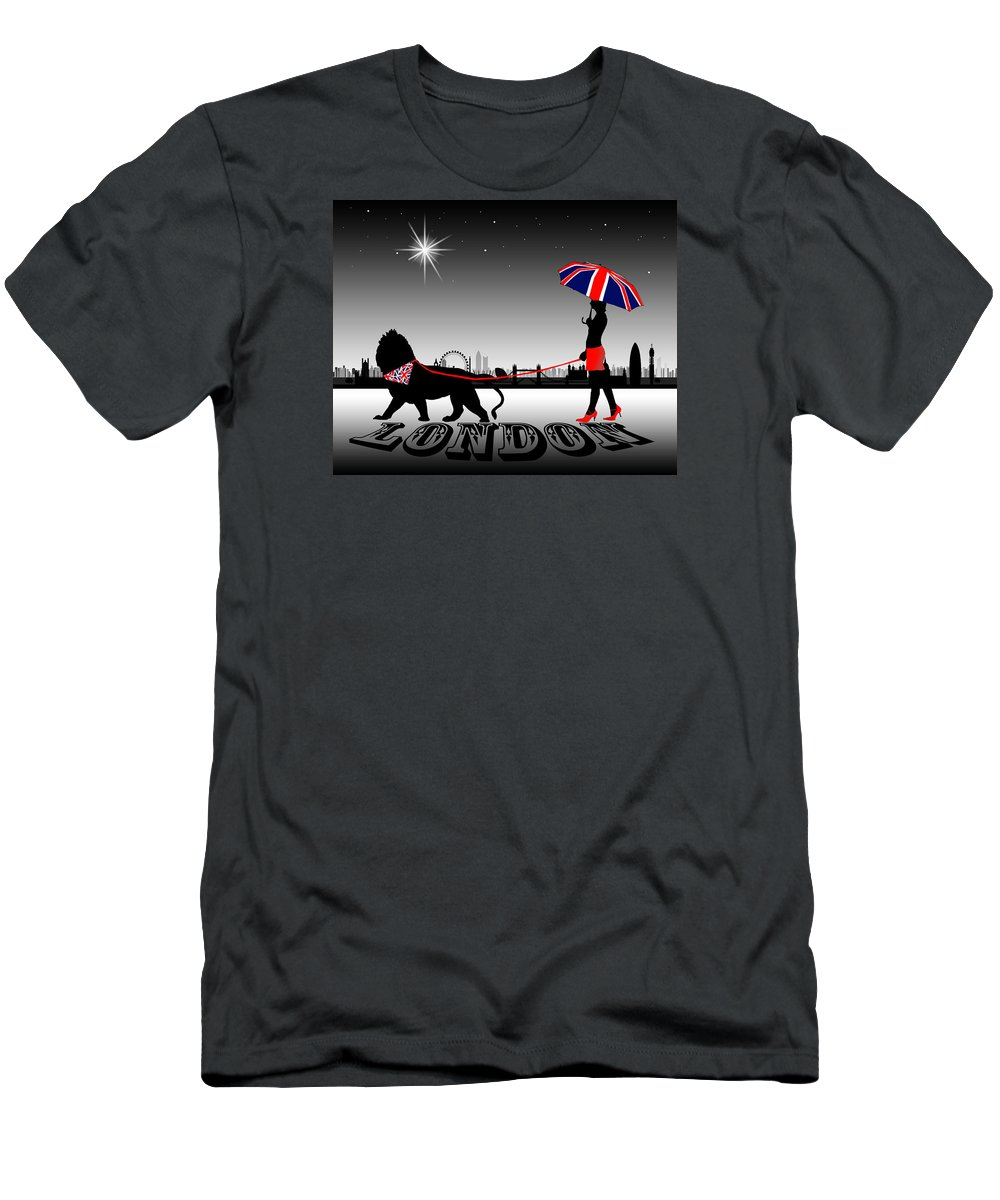 Fashion Men's T-Shirt (Athletic Fit) featuring the digital art London Catwalk Queen Too by Peter Stevenson