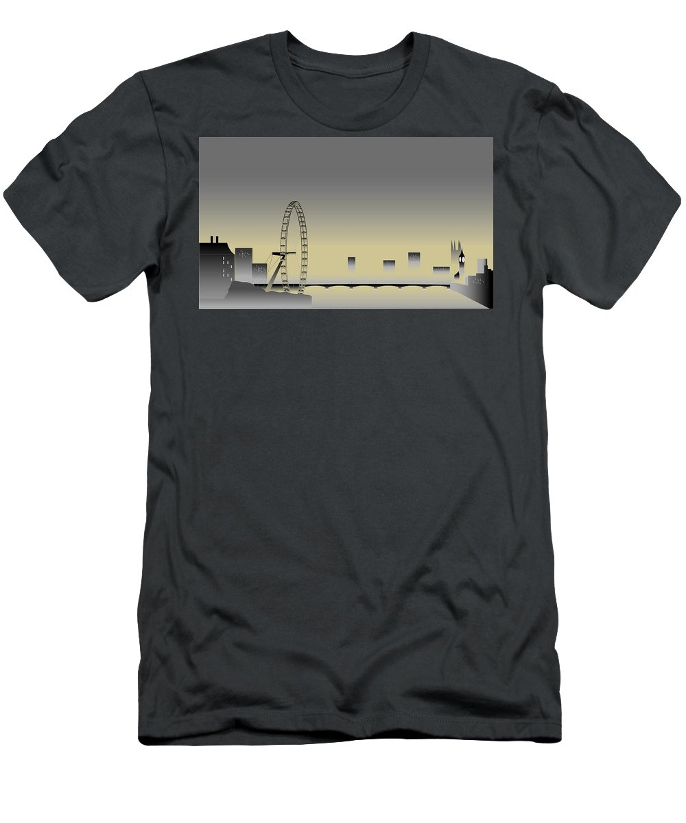 London At Dusk Men's T-Shirt (Athletic Fit) featuring the digital art London In The Mist by Nigel Wakefield