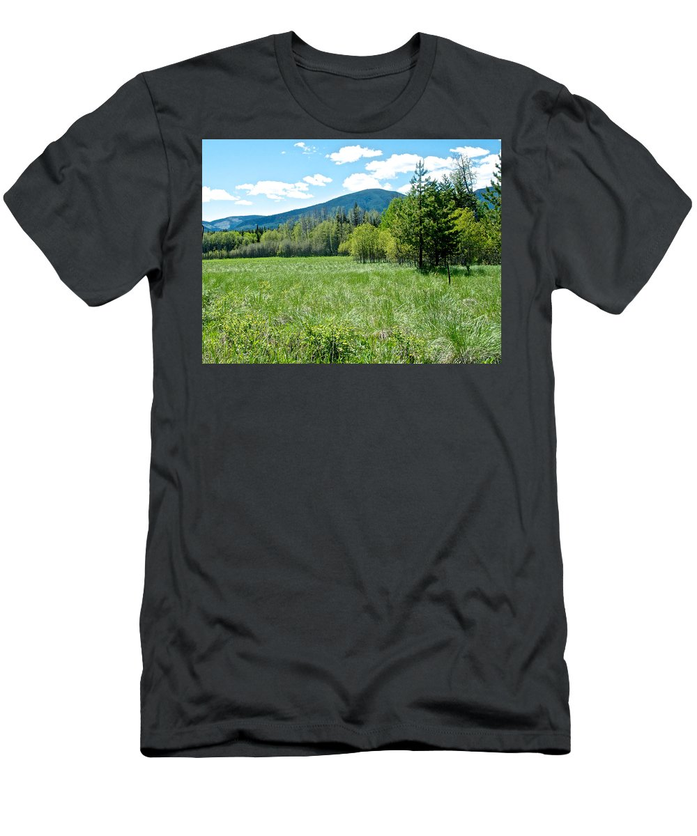 Lone Pine Prairie Men's T-Shirt (Athletic Fit) featuring the photograph Lone Pine Prairie South Of Polebridge In Glacier Np- Mt by Ruth Hager