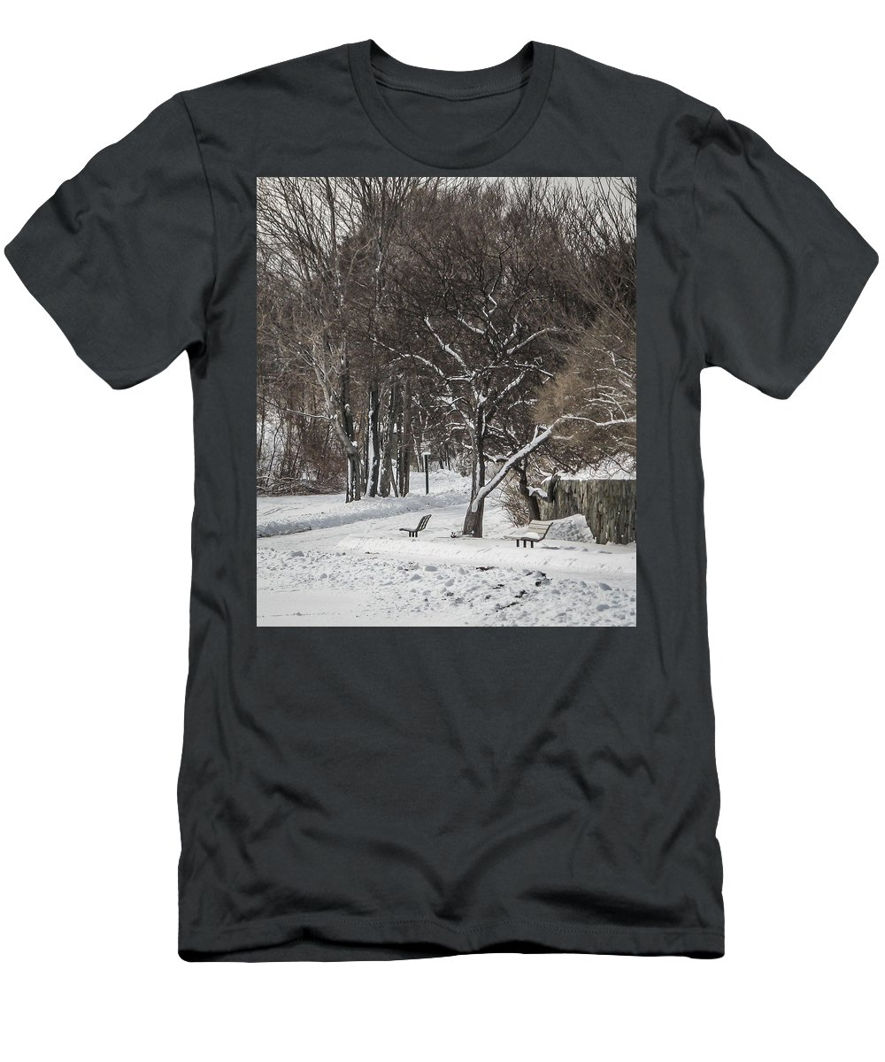 Bench Men's T-Shirt (Athletic Fit) featuring the photograph Lonely Bench by Jane Luxton