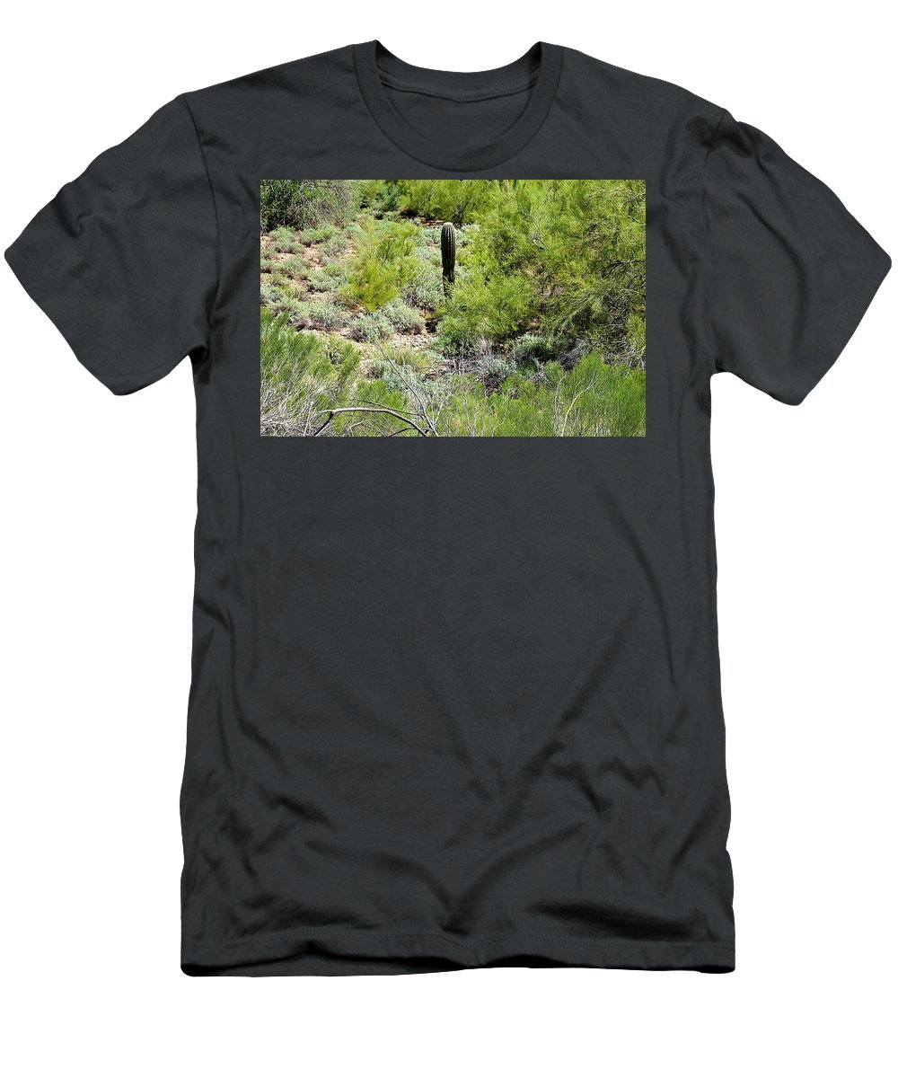 Cacti Men's T-Shirt (Athletic Fit) featuring the photograph Lonely Little Saguaro by Barbara Zahno