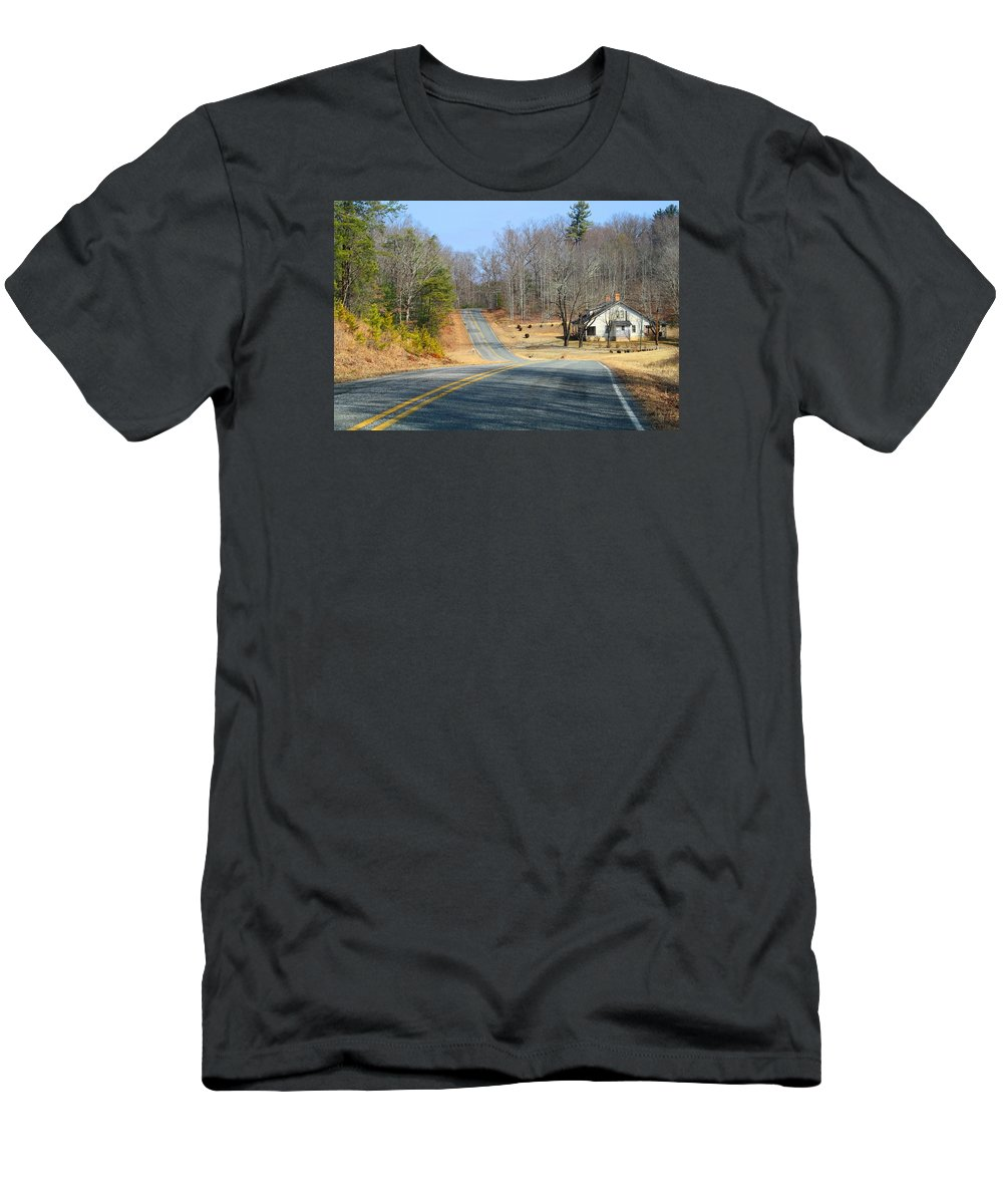 Landscape Men's T-Shirt (Athletic Fit) featuring the photograph Long About Now by Kathryn Meyer
