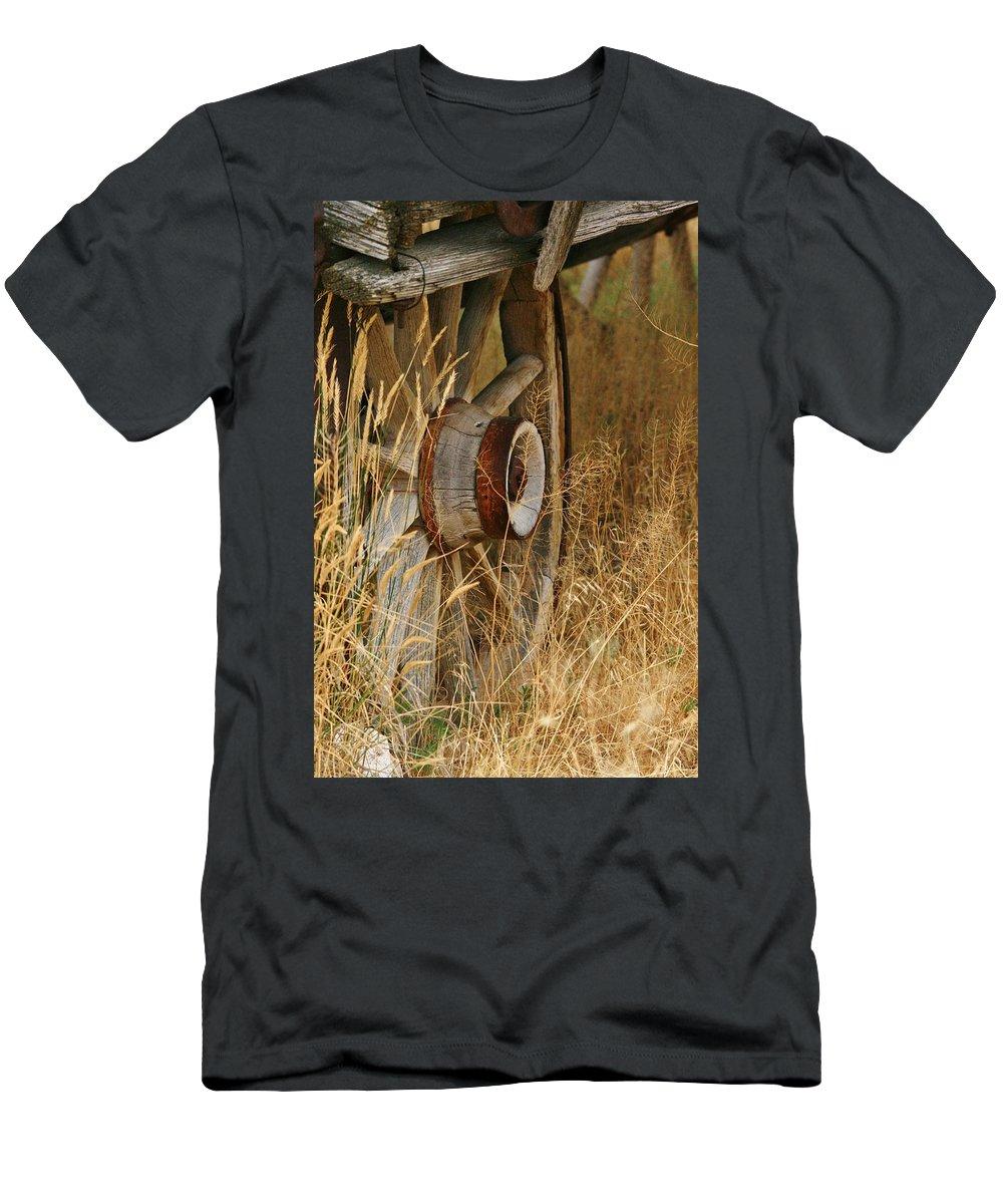 Wheel Men's T-Shirt (Athletic Fit) featuring the photograph Long Ago by Karen Jones