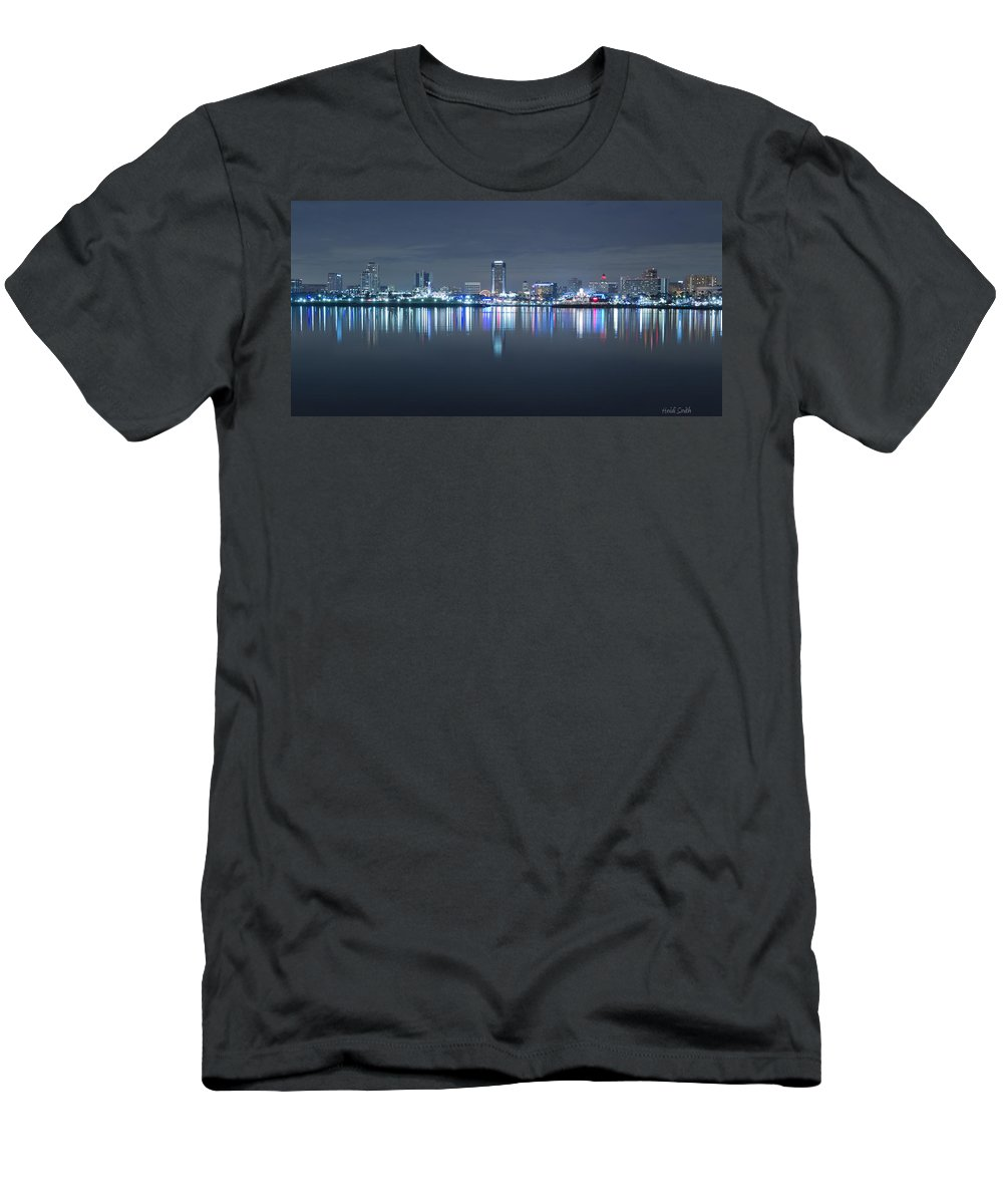 America Men's T-Shirt (Athletic Fit) featuring the photograph Long Beach Skyline by Heidi Smith