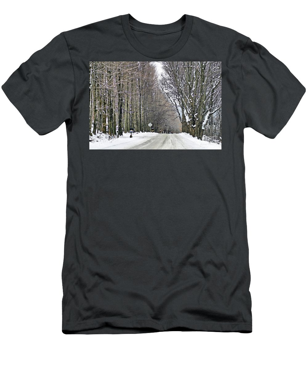 Winter Men's T-Shirt (Athletic Fit) featuring the photograph Long Country Road by Deborah Benoit