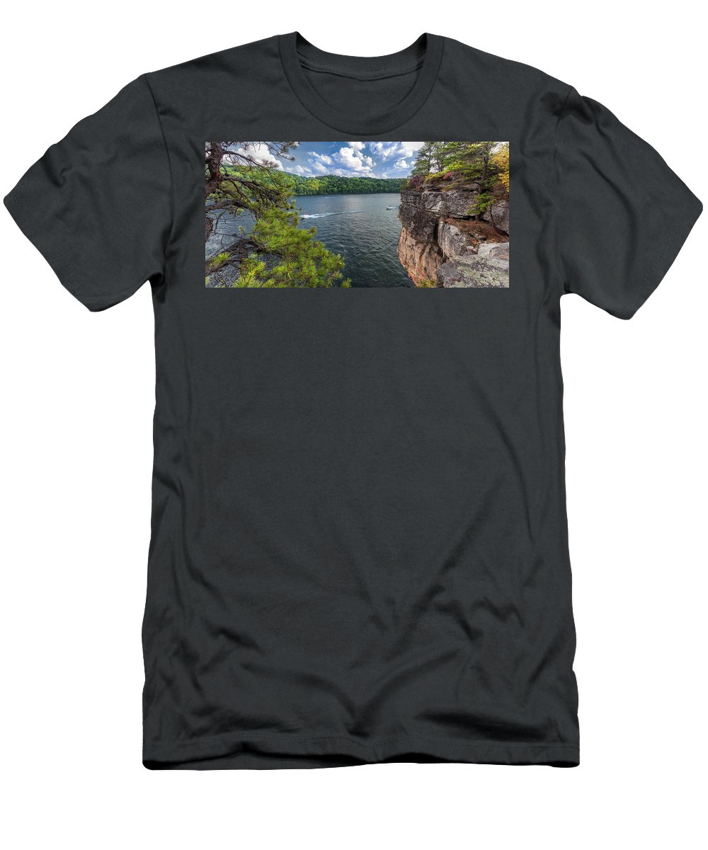 Summersville Lake Men's T-Shirt (Athletic Fit) featuring the photograph Long Point At Summersville Lake by Mary Almond