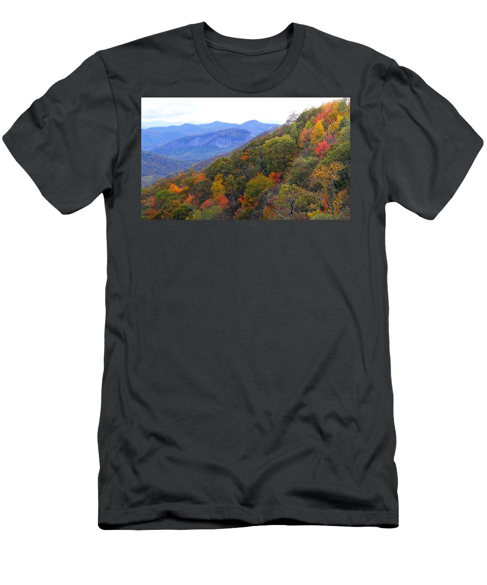 Landscapes. Printscapes Men's T-Shirt (Athletic Fit) featuring the photograph Looking Glass Rock And Fall Colors by Duane McCullough