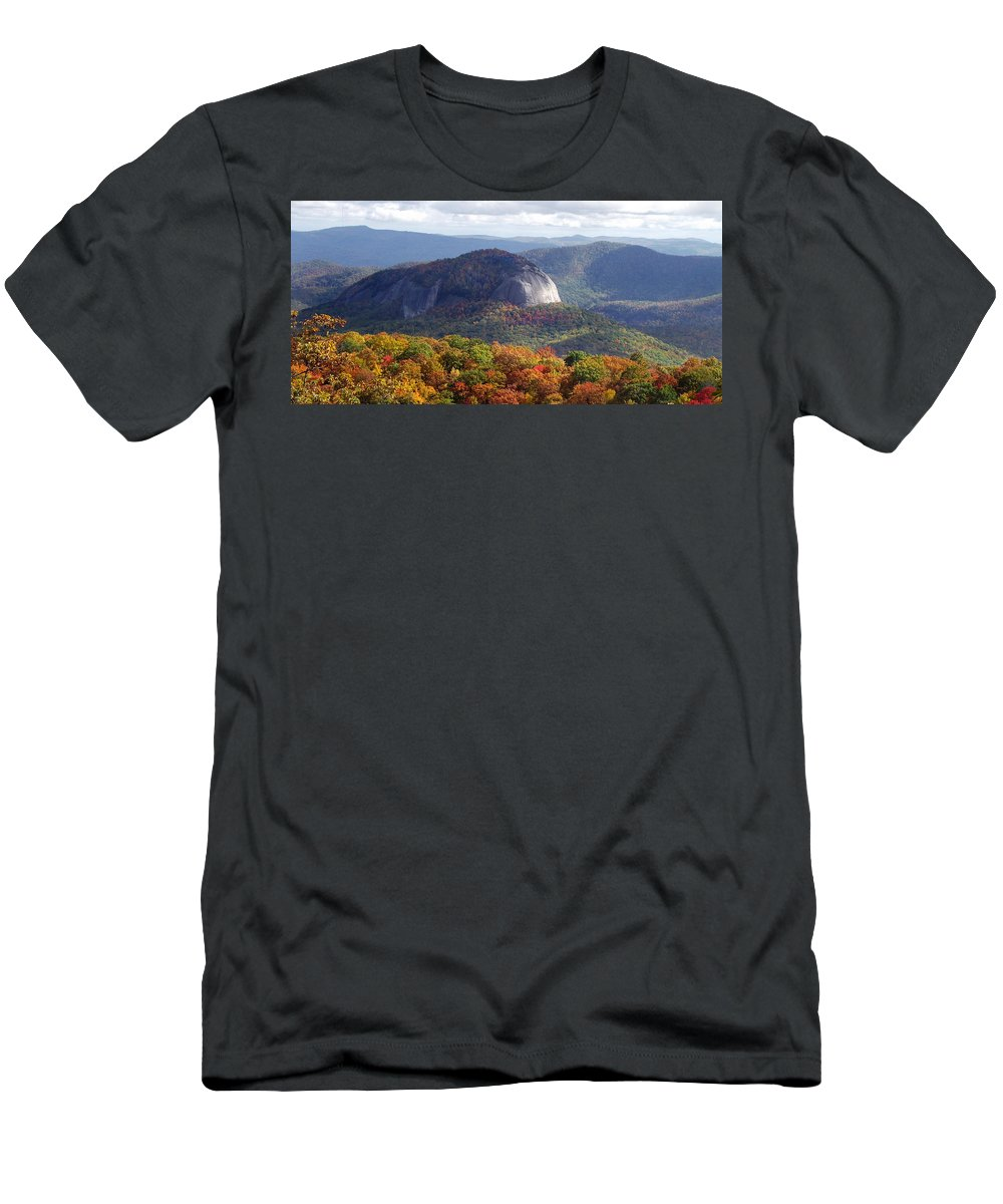 Landscapes. Printscapes Men's T-Shirt (Athletic Fit) featuring the photograph Looking Glass Rock And Fall Folage by Duane McCullough