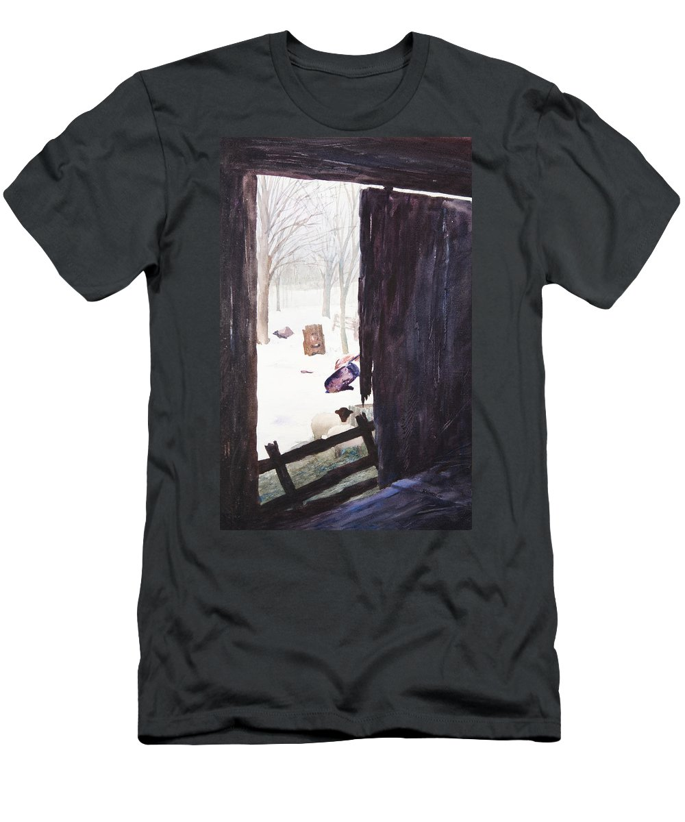 Landscape Men's T-Shirt (Athletic Fit) featuring the painting Looking Out Looking In by Rachel Christine Nowicki