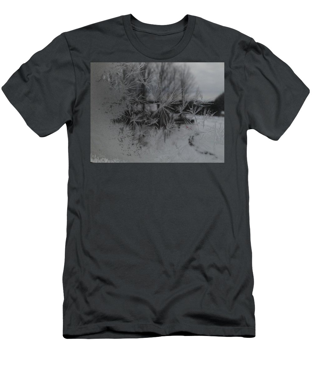 Frost Men's T-Shirt (Athletic Fit) featuring the photograph Looking Through The Frost I by Tiffany Erdman