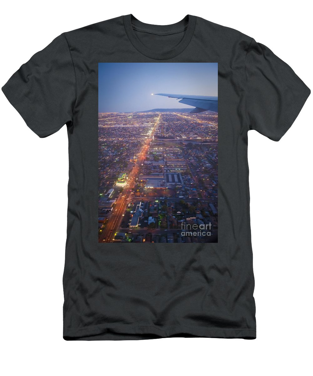 Los Angeles Aerial Overview On Approach To Lax At Night Men's T-Shirt (Athletic Fit) featuring the photograph Los Angeles Aerial Overview On Approach To Lax At Night by David Zanzinger