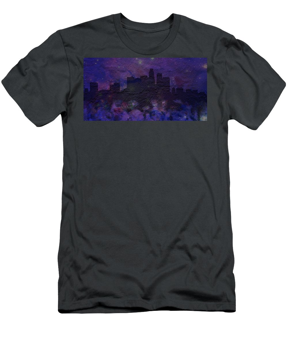Brick Men's T-Shirt (Athletic Fit) featuring the digital art Los Angeles Skyline Brick Wall Mural by Brian Reaves