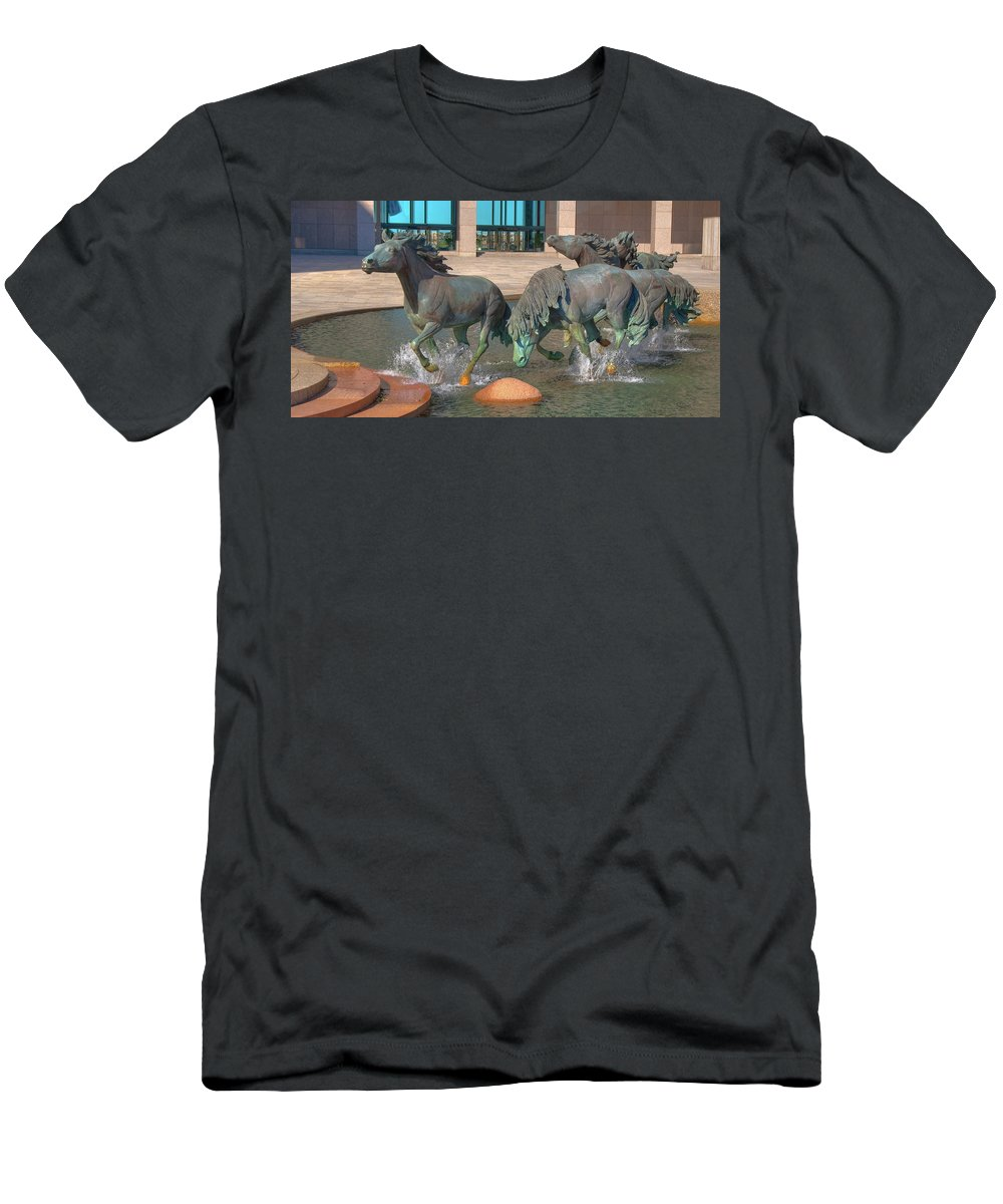 Sculptures Men's T-Shirt (Athletic Fit) featuring the photograph Los Colinas Mustangs 14675 by Guy Whiteley