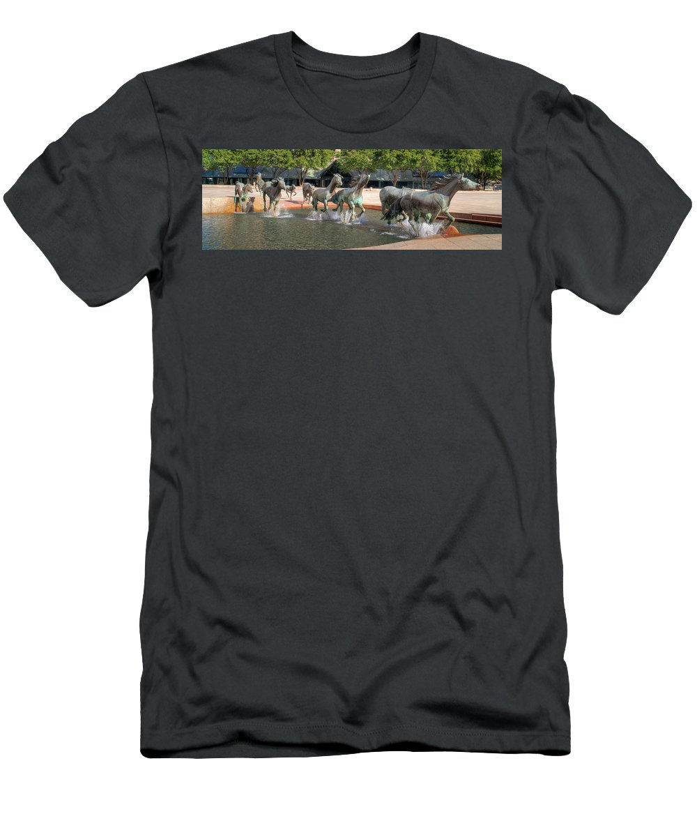 Sculptures Men's T-Shirt (Athletic Fit) featuring the photograph Los Colinas Mustangs 14707 by Guy Whiteley