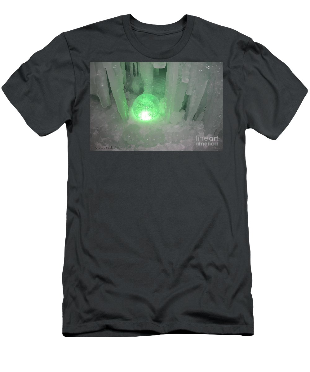 Ice Men's T-Shirt (Athletic Fit) featuring the photograph Lost Ice Globe by Susan Herber